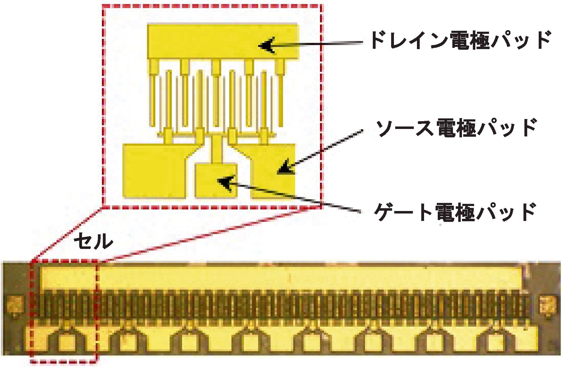 開発したGaN-HEMTの上面写真(下)とセル構造(上)