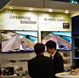 ブースではSRTプロトコル搭載の4K映像伝送ソリューションによるデモが行われた