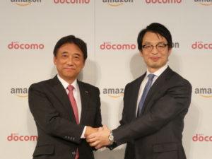 会見にはドコモの吉澤社長(左)とアマゾンジャパンのジェスパー・チャン社長がゲストとして出席した