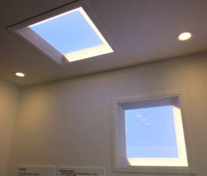 本物の青空や夕焼けに近いあかりを実現する「青空照明」。「超フラグシップ照明」として今年秋の発売を予定する